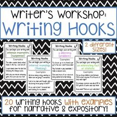 """Do your students have a hard time beginning their writing? Do they begin every piece of writing the same exact way? This product includes 20 popular ways that student's can enhance the beginnings of their writing! Each chart states the name of the """"hook"""" and gives examples to help students produce their"""