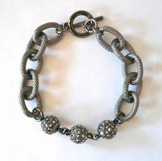 Textured Gunmetal link & pave ball bracelet by oiajules on Etsy