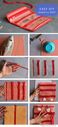 Make A Mini Jewelry Roll DIY. Sew A Mini Jewelry Roll.Perfect for your make-up and travel bag. Small enough to fit in your purse. Sew A Mini Jewelry Roll.Perfect for your make-up and travel bag. Small enough to fit in your purse. Sewing Hacks, Sewing Tutorials, Sewing Crafts, Sewing Patterns, Sewing Tips, Sewing Ideas, Bag Sewing, Free Sewing, Diy Jewelry Roll