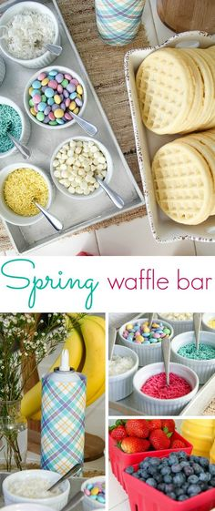 A Spring themed self-serve waffle bar, perfect for Easter parties or Sunday brunch with your family. Breakfast Bar Food, Breakfast Waffles, Birthday Breakfast, Birthday Brunch, Sunday Breakfast, Sunday Brunch, Breakfast For Kids, Easter Birthday Party, Birthday Bar