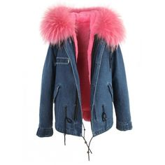 DENMIN Raccoon Fur Parka Jacket ❤ liked on Polyvore featuring outerwear, jackets, blue jackets, zip pocket jacket, collar jacket, parka jacket and blue parka
