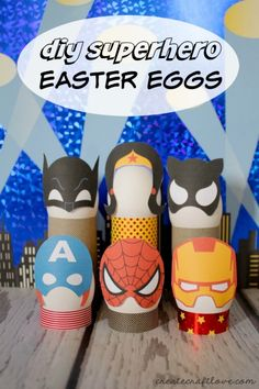 DIY Superhero Easter Eggs complete with free printable. Turn your Easter eggs into superheros Egg Crafts, Easter Crafts For Kids, Easter Ideas, Easter Recipes, Easter Hat Parade, Easter Egg Designs, Easter Printables, Free Printables, Easter Activities