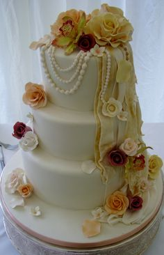 vintage fabric effect and pearls wedding cake by dazzlelicious cakes
