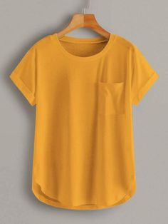 Tee Shirt Jaune, Petal Sleeve, Latest T Shirt, Roll Up Sleeves, Camo Print, Pocket Detail, Girly Outfits, Mustard Yellow, Shirt Blouses