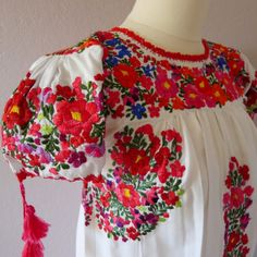 Mexican Embroidery Floral Dress - Oaxaca - Cutie-pie puffy sleeves - PETITE - resort cover-up