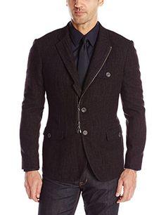 John Varvatos Star USA Men's Soft Jacket with Front Zip