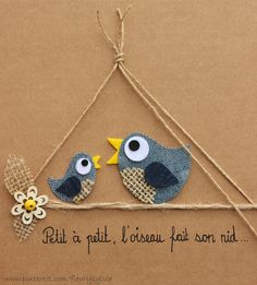 Petit à petit, l'oiseau fait son nid....#recyclage #jeans http://pinterest.com/fleurysylvie/mes-creas-la-collec/