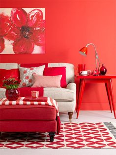 Decorating ideas to revamp your living room    Red hot, hot, hot  Just as a red dress makes you stand out at a party, a red room always grabs the limelight. Go beyond the wall and be bold, saturating the space with this feisty colour. And once you've brought together the basic pieces, it's time to add the final touches, for these are what invigorate rooms – think look-at-me artwork, intriguing collectables, seasonal flowers and even a pile of books.