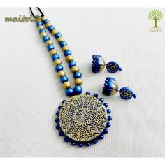 Terracotta Jewellery - Blue Gold Magic  www.facebook.com/maitri.crafts.maitri maitri_crafts@yahoo.com