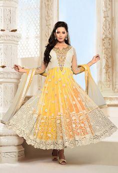 #Cream And Yellow #Net #Anarkali Suit