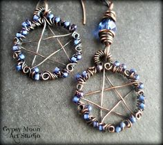 Rustic Jewelry/Mystical Painting/Recycled Art by TheCrowCottage Copper Earrings, Copper Jewelry, Copper Wire, Wire Jewelry, Jewellery, Rustic Jewelry, Unique Jewelry, Jewelry Ideas, Wiccan Crafts