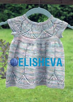 """Clara Dress"" knit by Tanis Lavallee in Hedgehog Fibres ""Tidepool"" colourway. Baby Knitting, Crochet Baby, Tanis Fiber Arts, Stretchy Bind Off, Baby Barn, Expecting Baby, Finger Weights, Little Girl Dresses, Dress Making"