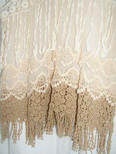 BOHO festival ivory blush tea layer fringe by THEHIPPIEGYPSYVTG