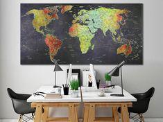 World map canvas World map decor Large world map Travel art Push pin map canvas Extra large wall art Travel poster Push pin canvas World map World Map Travel, Kids World Map, Large Canvas Art, Canvas Art Prints, World Map Photo, Grand Art Mural, Travel Wall Decor, Gaming Wall Art, World Map Decor