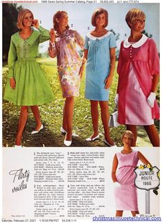 1966 Sears Spring Summer Catalog, Page 21 - Christmas Catalogs & Holiday Wishbooks Sixties Fashion, Christmas Catalogs, 3rd Baby, Lace Collar, Babydoll Dress, Cotton Lace, Baby Dolls, Lace Skirt, Bodice