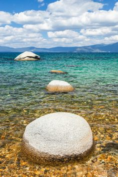 """""""Boulders at Lake Tahoe 49"""" - These boulders and aqua blue waters were…"""