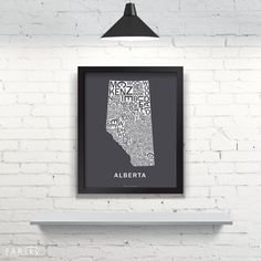 Far Sky Alberta Typographic Map by FarSkyMapWorks on Etsy