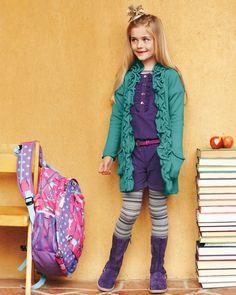 Back to school [Long Ruffled Edge Cardigan, Run-Around Romper and Italian Leather Harness Boots] #backtoschool
