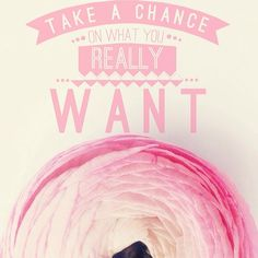 take a chance on what you really want <3