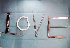 Love is all you need and a good dentist. Dental Humor, Dental Hygiene, Free Dental, Best Dentist, Dentistry, Medicine, Passion, Smile, Sculpture