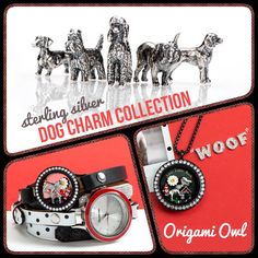Origami Owl, sterling silver Dog Charm collection! www.CharmingLocketsByAline.OrigamiOwl.com