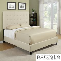 Update your bedroom with this beautiful queen-size platform bed that includes an impressive headboard, a footboard, and side rails for a complete look. The slat bed is upholstered in relaxing cream-and-sand stripes with dark espresso legs.