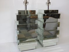 Pair Of Vintage, Mid-Century Modern Mirrored Lamps by FLORIDAMODERN on Etsy