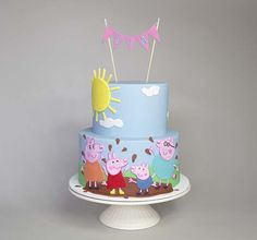 Colorful Peppa Pig Themed Birthday Cake Picture