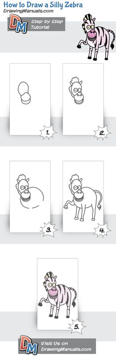How to Draw a Silly Zebra http://drawingmanuals.com/manual/how-to-draw-a-silly-zebra/