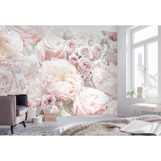 Peonies Discover Roper Spring Roses 1 L x W Smooth Wall Mural Rosdorf Park Roper Spring Roses L x W Wall Mural Boys Bedroom Wallpaper, Paper Wallpaper, Photo Wallpaper, Decoration Shabby, Rosa Pink, Rose Wall, Pink Paper, My New Room, Wall Murals