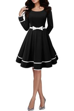 BlackButterfly 'Grace' Vintage Clarity Dress (Black, US Long sleeves. Finished with a stunning contrasting trim and waist belt. Fully lined. Concealed centre back zipper. Pin Up Dresses, Pretty Dresses, Beautiful Dresses, Dress Outfits, Fashion Dresses, Cute Outfits, Prom Dresses, Dresses With Sleeves, Vintage Style Outfits