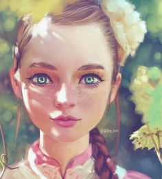 Freckles by Hiba-tan on DeviantArt Digital Portrait, Digital Art, Anime Chibi, Anime Art, Hiba Tan, Illustration Art, Illustrations, Drawing People, Painting Inspiration
