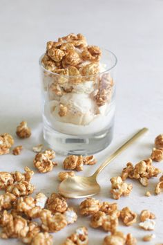 Caramel Ribbon Ice Cream with Popcorn Topping: http://www.stylemepretty.com/living/2015/10/02/ice-cream-recipes-so-good-youll-forget-its-fall/
