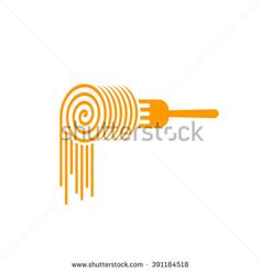 Pasta Fork Vector Logo, Fork With Pasta Roll Symbol, Concept Of ...