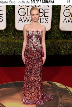 Kate Bosworth de Dolce & Gabanna no Globo de Ouro 2016. #globodeouro #goldenglobe #look #tapetevermelho #ootn #outfit #looknowlook