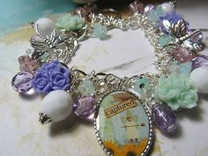 Captured Fairy  Altered Art Charm Bracelet   ooak ebsq
