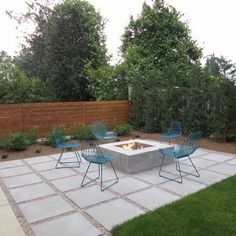 rectangle pad for firepit - large square pavers and gravel