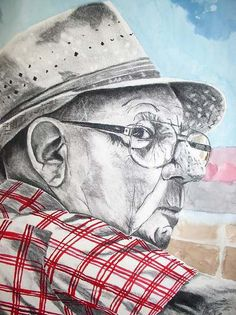 Grandpa at the Races by Yvonne Ham Charcoal ~  x