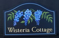 Wisteria Cottage House Sign - Carved & gilded text with a hand-painted artwork. See more of our custom house signs on our website!