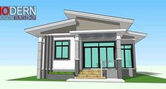 At first glance, you will fall in love with the color combination of paint that was used for the exterior of this house. The main color of white is contrasted with gray and orange that [. Single Storey House Plans, One Storey House, House Plans Mansion, Bungalow House Plans, Architectural House Plans, Simple House Design, Detached House, Colonial, Ideal Home