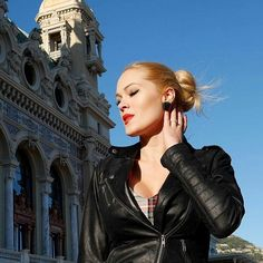 My beautiful French Customer @french_pinup_  with the Black Lucite Triangle Earrings  Available at  http://ift.tt/KWfwca  Sunny  Saturday today in Monaco . Life is beautiful . . Photo by @crystalandstones #pinup #pinupgirl #rocknroll #rock #perfectday #perfecto #blonde #blondgirl #retro #redlips #blusky #monaco #casino #casinodemontecarlo #glitter #glitteraddict #glitterparadise #tartan #tartanstyle #dress #dressmadebyme #glitterparadisehappycustomer