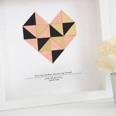 Personalised Mothers Day Framed Geometric Heart Print by ditsy chic, the perfect gift for Explore more unique gifts in our curated marketplace. Wedding Logos, Wedding Stationary, Love You Mum, Paper Collage Art, Geometric Heart, Soft Corals, Heart Logo, Heart Frame, Geometric Wedding