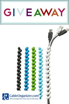 Cable Twister Giveaway. 10 Cable Managers Up for Grabs. They are cute and come in a variety of colors.  #giveaway #organize office