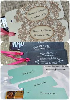 personalized candy bar wrappers and holders - wedding and party favors DIY