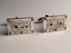 Men's Pair of Silver 80s 90s Music Cassette Tape by Lynx2Cuffs, $21.99