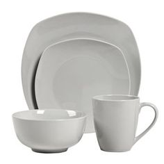 Tabletops Gallery Veneto 16-pc. Square Dinnerware Set  sc 1 st  Pinterest & Quinto White Porcelain Square Coupe 16-Piece Dinnerware Set ...