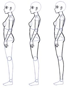 Draw anime side view body proportions