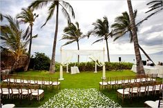 Four Tips For A Beautiful Beach Wedding. The soft sand, the bright sparkling water, and the sunset in the distance definitely make beaches one of the most romantic settings for a wedding. Wedding Bells, Wedding Ceremony, Wedding Flowers, The Jewish Bride, Hawaiian Destination Weddings, Kauai Wedding, Let's Get Married, Destin Beach, Wedding Locations