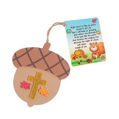 Faith Acorn Ornaments with Card Craft Kit - OrientalTrading.com