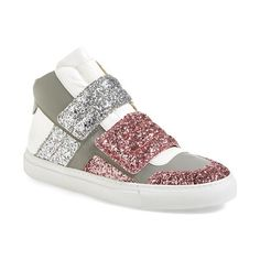 MM6 Maison Margiela Glitter High Top Sneaker ($390) ❤ liked on Polyvore featuring shoes, sneakers, pink, velcro shoes, leather high tops, pink high top sneakers, velcro high-top sneakers and leather sneakers